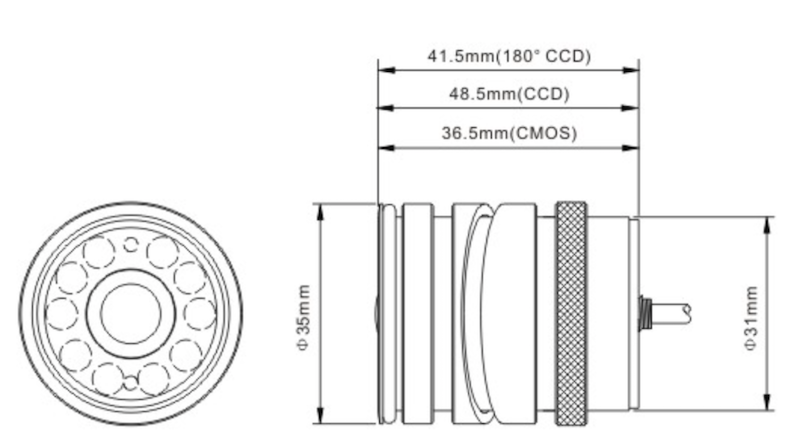 ccd keyhole flush mount infrared night vision backup camera