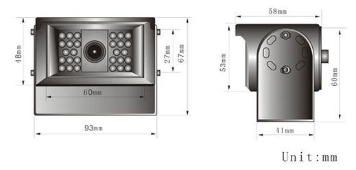 CW134087CAI Rear View Camera Dimension